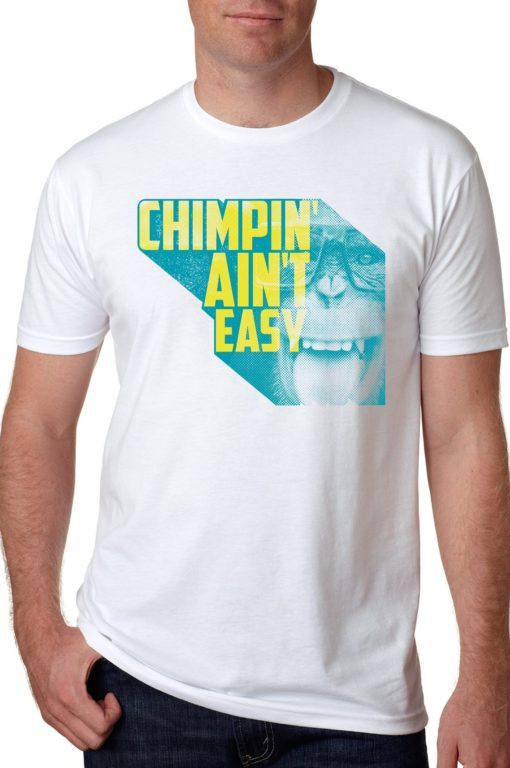 Mens_White_Chimpin' Aint Easy Retro Tshirt