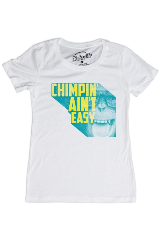 Womens_White_Chimpin' Aint Easy Retro Tshirt