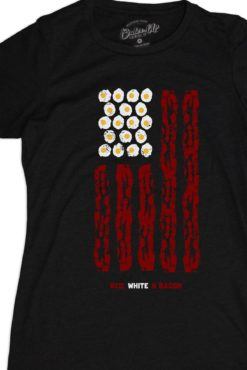 Red white bacon flag women's tee
